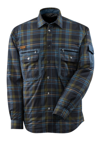 MASCOT® ADVANCED - blu navy scuro/blu mare* - Camicia in CLIMASCOT®, flanella a quadri