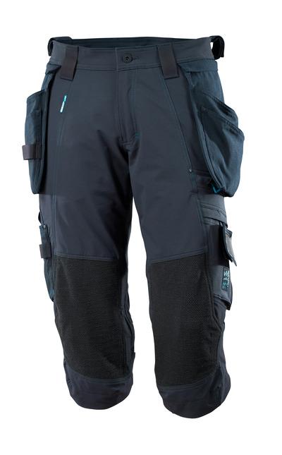 MASCOT® ADVANCED - blu navy scuro - Pantaloni a 3/4, con tasche esterne staccabili, stretch a 4-vie, leggeri.