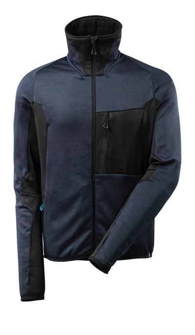 MASCOT® ADVANCED - blu navy scuro/nero - Maglia in pile con chiusura lampo, collo alto, outfit moderno