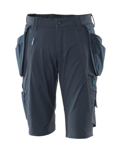 MASCOT® ADVANCED - blu navy scuro - Pantaloni corti con tasche esterne staccabili in CORDURA®, stretch multi-direzionali, leggeri