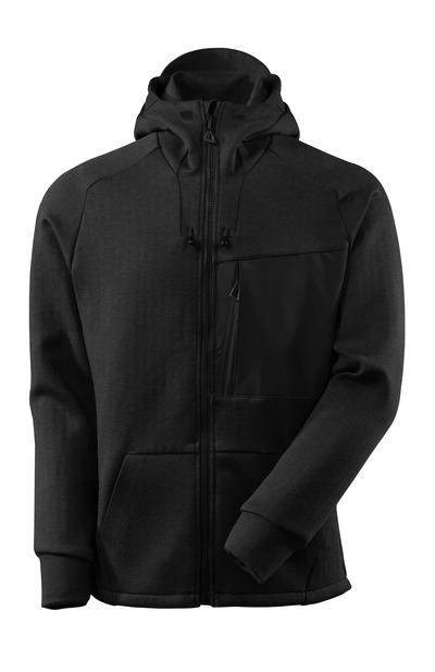 MASCOT® ADVANCED - nero melange/nero - Felpa con cappuccio e cerniera, fit moderno