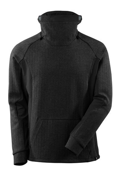 MASCOT® ADVANCED - nero melange/nero - Felpa con collo alto regolabile, fit moderno