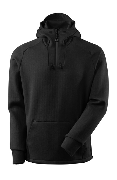 MASCOT® ADVANCED - nero melange/nero - Felpa con cappuccio, mezza zip, fit moderno
