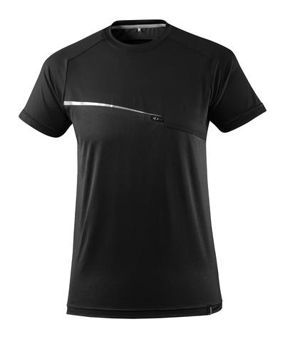 MASCOT® ADVANCED - nero - T-shirt con tasca sul petto, traspirante e capace di gestire l'umidità, fit moderno