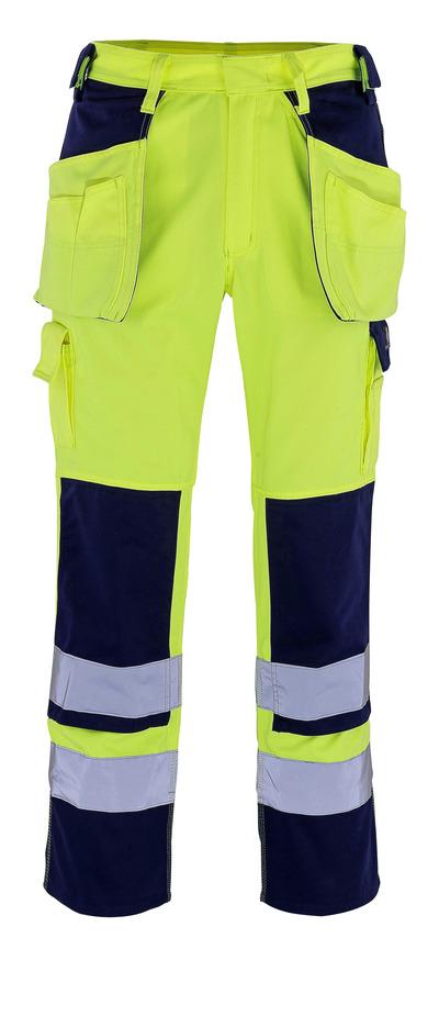 MASCOT® Almas - giallo hi-vis/blu navy - Pantaloni con tasche porta-ginocchiere e tasche esterne, classe 2