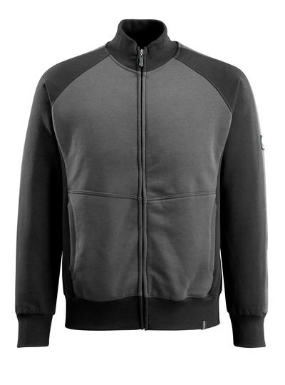 MASCOT® Amberg - antracite scuro/nero - Felpa con chiusura lampo, outfit moderno