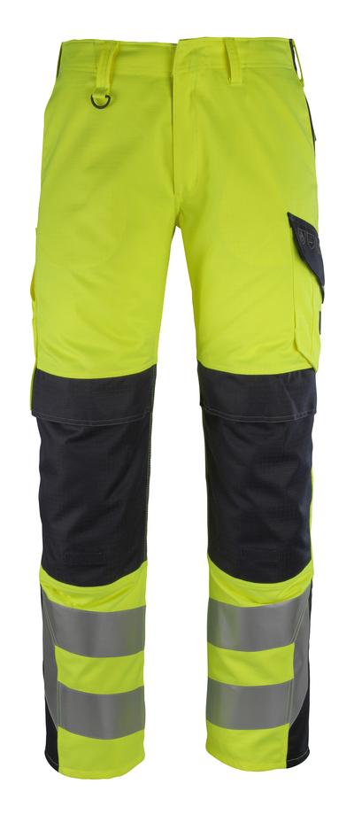MASCOT® Arbon - giallo hi-vis/blu navy scuro - Pantaloni con tasche porta-ginocchiere, multiprotezione, classe 2