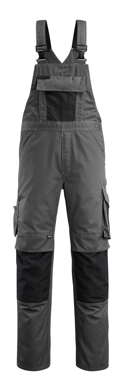 MASCOT® Augsburg - antracite scuro/nero - Salopette con tasche porta-ginocchiere, peso ridotto