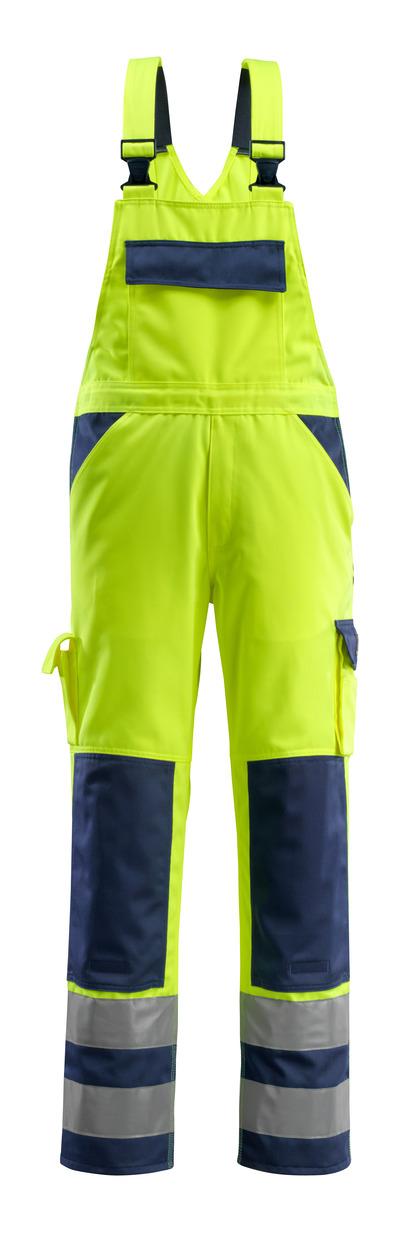 MASCOT® Barras - giallo hi-vis/blu navy - Salopette con tasche porta-ginocchiere, classe 2