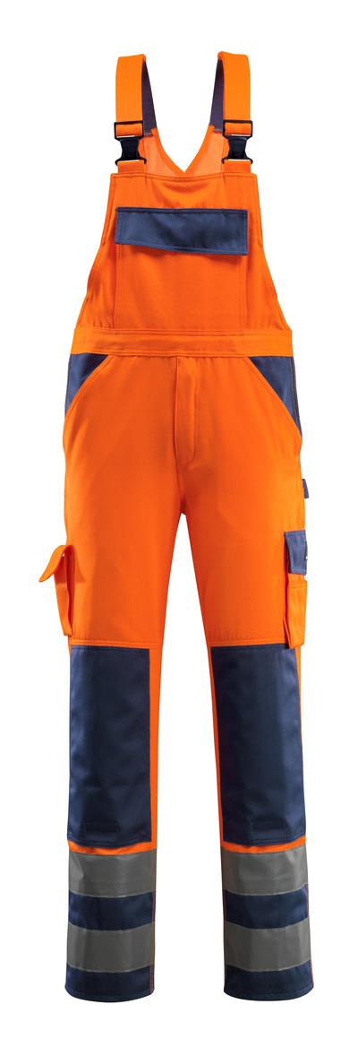 MASCOT® Barras - arancio hi-vis/blu navy - Salopette con tasche porta-ginocchiere, classe 2