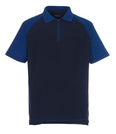 MASCOT® Bianco - blu navy/blu royal - Polo con chiusura lampo, taglio classico, tasca pettorale