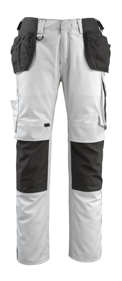 MASCOT® Bremen - bianco/antracite scuro - Pantaloni con tasche porta-ginocchiere e tasche esterne in CORDURA®, alta resistenza all'usura