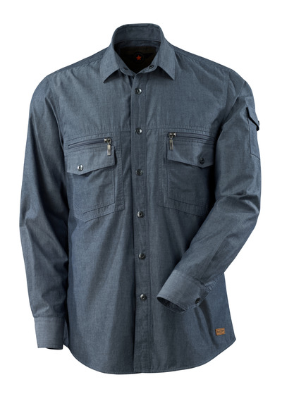 MASCOT® CROSSOVER - blu scuro denim lavato - Camicia con tessuto chambray e fodera a rete.
