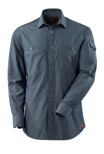 MASCOT® CROSSOVER - blu scuro denim lavato - Camicia con chambray.