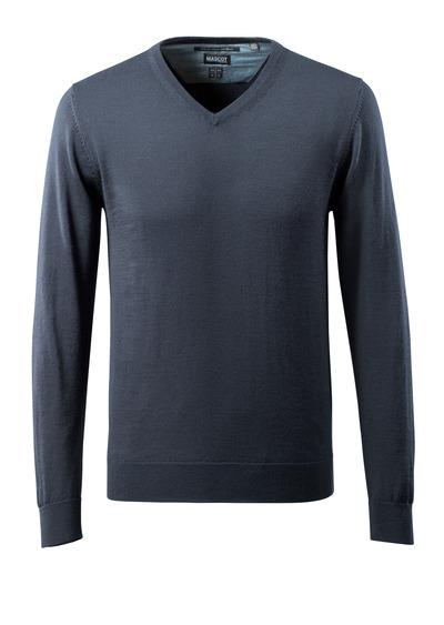 MASCOT® CROSSOVER - blu navy scuro - Maglione di Lana scollo a V, con lana Merinos.