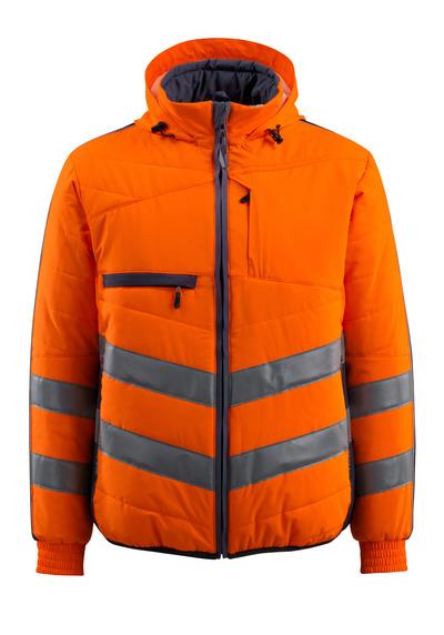 MASCOT® Dartford - arancio hi-vis/blu navy scuro - Giacca con fodera e cappuccio, idrorepellente, classe 2
