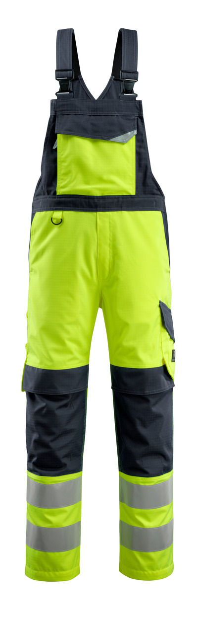 MASCOT® Davos - giallo hi-vis/blu navy scuro - Salopette con tasche porta-ginocchiere, multiprotezione, classe 2