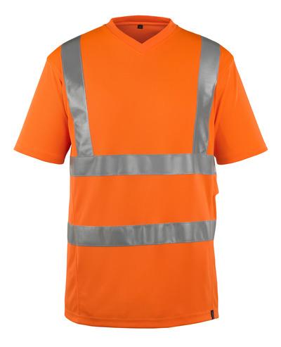 MASCOT® Espinosa - arancio hi-vis - Maglietta, collo a V, outfit moderno, classe 2