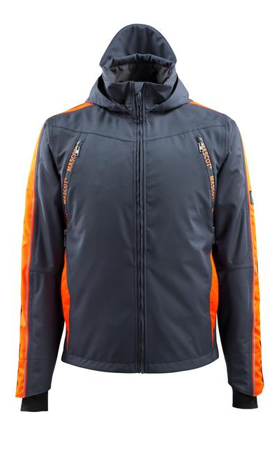 MASCOT® Gandia - blu navy scuro/arancio hi-vis - Giacca antivento con elementi a contrasto ad alta visibilità, impermeabile