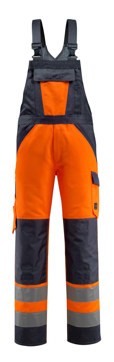 MASCOT® Gosford - arancio hi-vis/blu navy scuro - Salopette con tasche porta-ginocchiere, classe 2