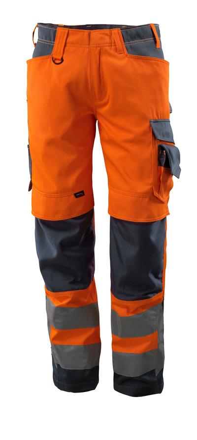 MASCOT® Kendal - arancio hi-vis/blu navy scuro - Pantaloni con tasche porta-ginocchiere in CORDURA®, classe 2