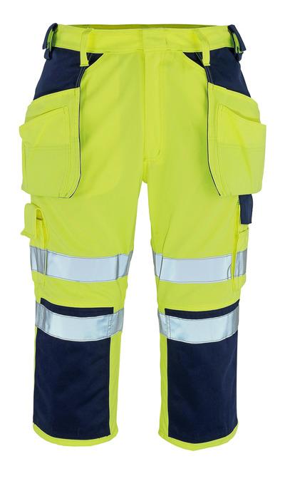 MASCOT® Lagarto - giallo hi-vis/blu navy* - Pantaloni a ¾ con tasche porta-ginocchiere e tasche esterne