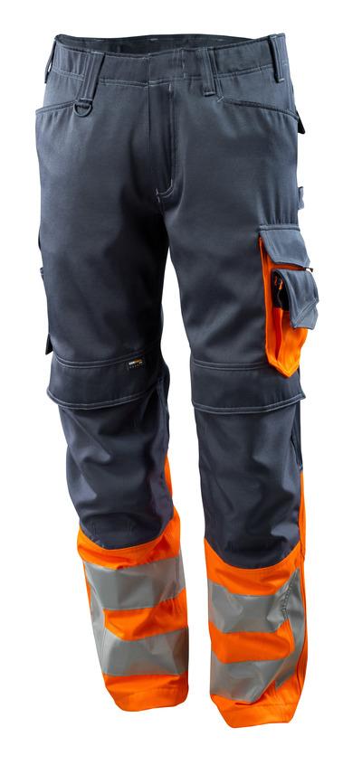 MASCOT® Leeds - blu navy scuro/arancio hi-vis - Pantaloni con tasche porta-ginocchiere in CORDURA®, classe 1