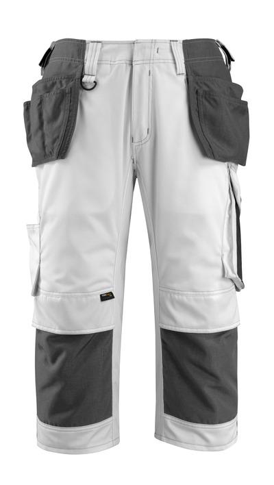MASCOT® Lindau - bianco/antracite scuro - Pantaloni a ¾ con tasche porta-ginocchiere e tasche esterne in CORDURA®, alta resistenza all'usura