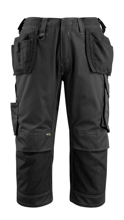 MASCOT® Lindau - nero - Pantaloni a ¾ con tasche porta-ginocchiere e tasche esterne in CORDURA®, alta resistenza all'usura
