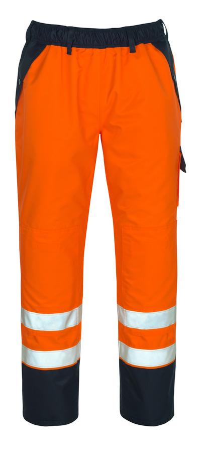 MASCOT® Linz - arancio hi-vis/blu navy - Sovrapantalone con tasche porta-ginocchiere, impermeabile MASCOTEX®, classe 1/2