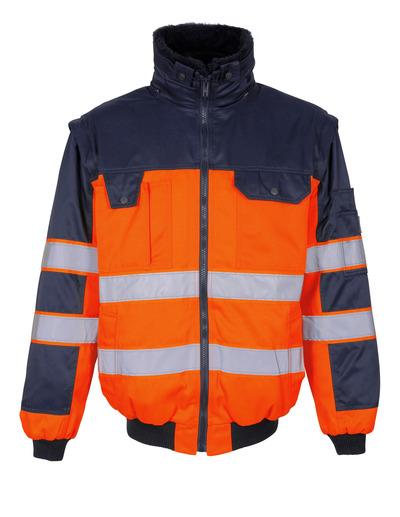 MASCOT® Livigno - arancio hi-vis/blu navy - Giacca da pilota con fodera in pile staccabile, idrorepellente, classe 2