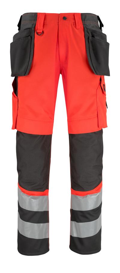 MASCOT® Lixa - rosso hi-vis/antracite scuro* - Pantaloni con tasche porta-ginocchiere e tasche esterne