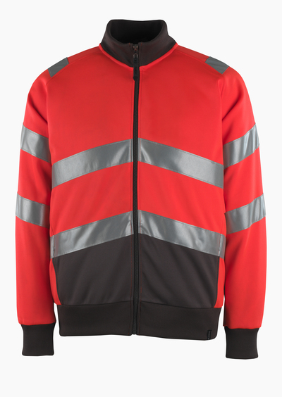 MASCOT® Maia - rosso hi-vis/antracite scuro* - Felpa con chiusura lampo, outfit moderno, classe 2