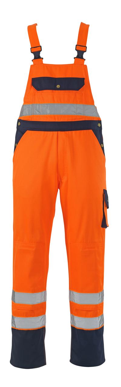 MASCOT® Milano - arancio hi-vis/blu navy* - Salopette con tasche porta-ginocchiere, classe 2/2