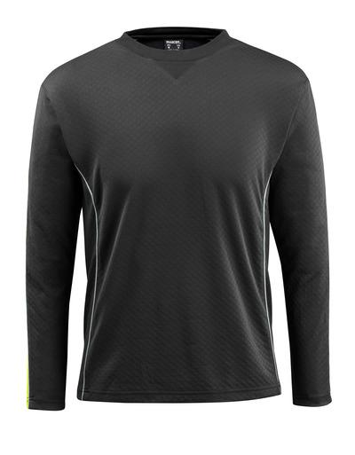 MASCOT® Montilla - nero/giallo hi-vis - Maglietta con elementi a contrasto ad alta visibilità, a maniche lunghe, outfit moderno