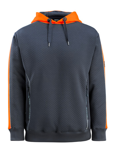 MASCOT® Motril - blu navy scuro/arancio hi-vis - Felpa con cappuccio ed elementi a contrasto ad alta visibilità, a nido d'ape, outfit moderno