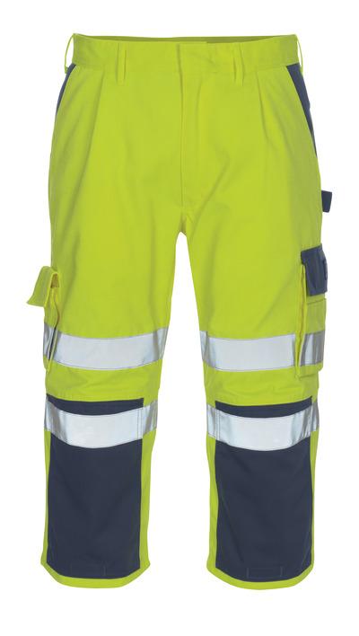 MASCOT® Natal - giallo hi-vis/blu navy* - Pantaloni a ¾ con tasche porta-ginocchiere