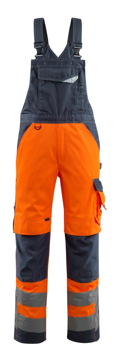MASCOT® Newcastle - arancio hi-vis/blu navy scuro - Salopette con tasche porta-ginocchiere, classe 2