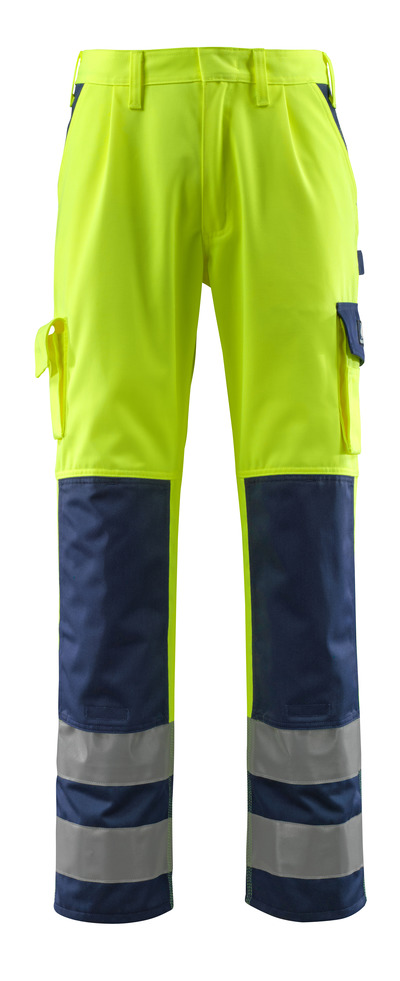 MASCOT® Olinda - giallo hi-vis/blu navy - Pantaloni con tasche porta-ginocchiere, classe 2