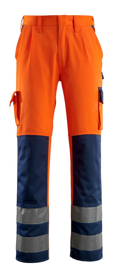 MASCOT® Olinda - arancio hi-vis/blu navy - Pantaloni con tasche porta-ginocchiere, classe 2