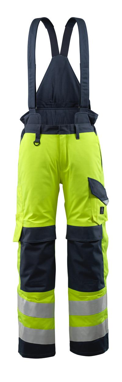 MASCOT® Renens - giallo hi-vis/blu navy scuro - Pantaloni invernali con fodera trapuntata e bretelle staccabili, impermeabile, multiprotezione