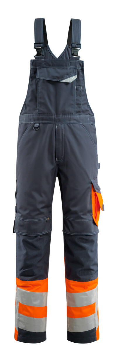 MASCOT® Sunderland - blu navy scuro/arancio hi-vis - Salopette con tasche porta-ginocchiere, classe 1