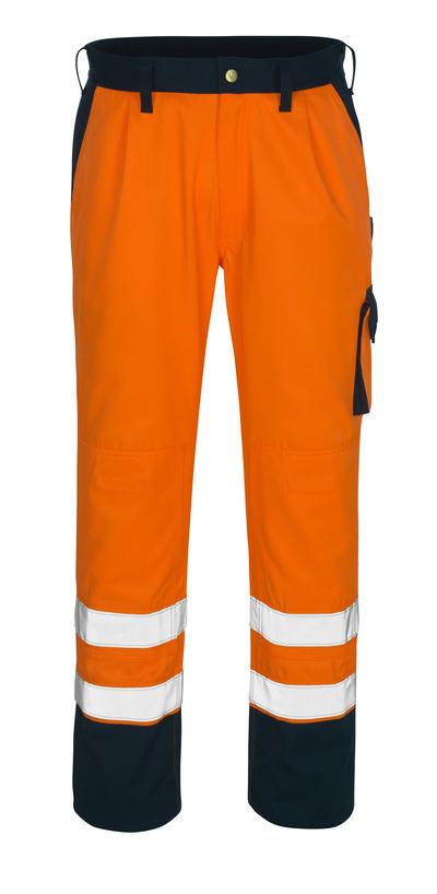 MASCOT® Torino - arancio hi-vis/blu navy* - Pantaloni con tasche porta-ginocchiere, classe 1/2