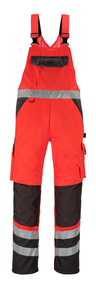 MASCOT® Trofa - rosso hi-vis/antracite scuro* - Salopette con tasche porta-ginocchiere