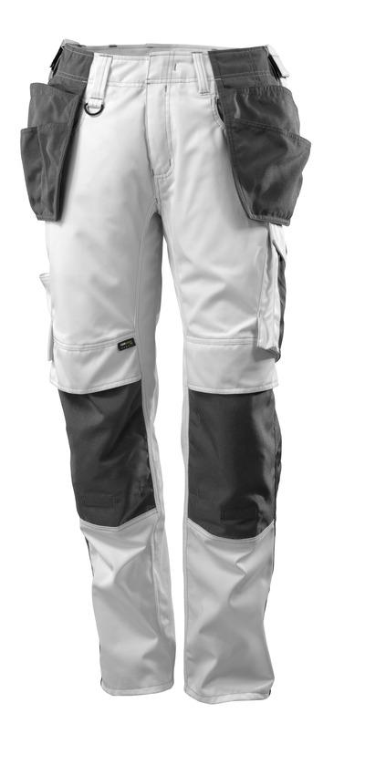 MASCOT® UNIQUE - bianco/antracite scuro - Pantaloni con tasche porta-ginocchiere e tasche esterne in CORDURA®, peso ridotto