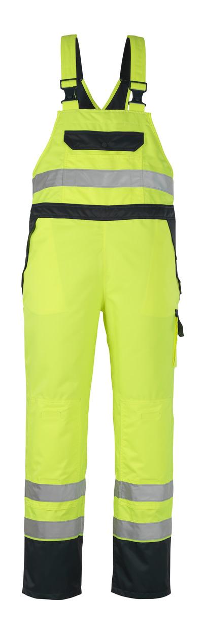MASCOT® Wels - giallo hi-vis/blu navy - Salopette sovrapantalone con tasche porta-ginocchiere, impermeabile MASCOTEX®, classe 2