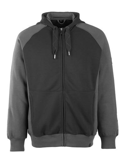 MASCOT® Wiesbaden - nero/antracite scuro - Felpa con cappuccio e cerniera, outfit moderno