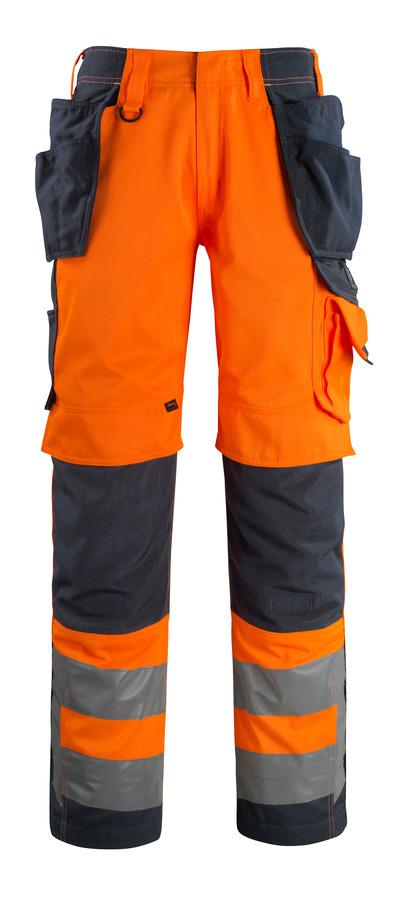 MASCOT® Wigan - arancio hi-vis/blu navy scuro - Pantaloni con tasche porta-ginocchiere e tasche esterne in CORDURA®, alta resistenza all'usura, classe 2